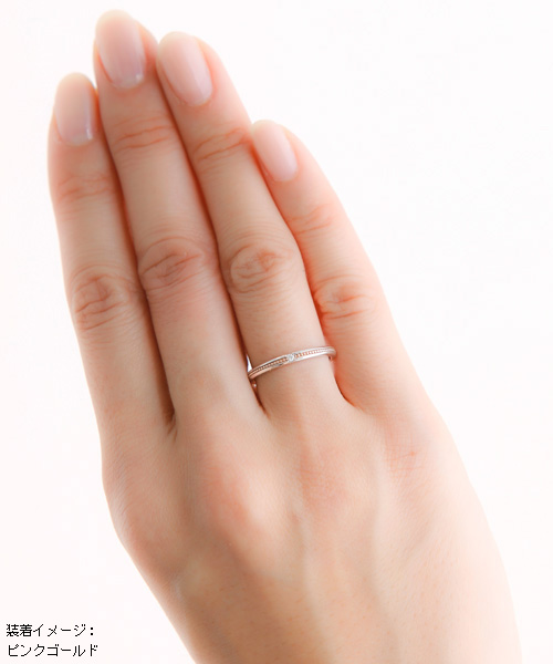 遺骨密封リング(樹脂密封タイプ) エレガントラインリングJR007 ピンクゴールド 完全防水 遺骨の宝石