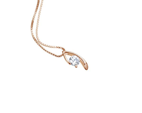 【ご遺骨から作るダイヤモンド0.25ct~(ダイヤ5色から選択)】ペンダントDP007ピンクゴールド 遺骨ペンダント
