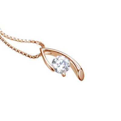 【ご遺骨から作るダイヤモンド0.25ct~(ダイヤ5色から選択)】ペンダントDP007ピンクゴールド 遺骨アクセサリー