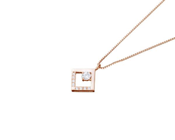 【ご遺骨から作るダイヤモンド0.25ct~(ダイヤ5色から選択)】ペンダントDP012ピンクゴールド 遺骨ペンダント