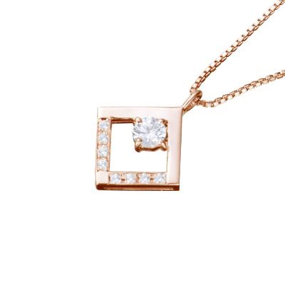 【ご遺骨から作るダイヤモンド0.25ct~(ダイヤ5色から選択)】ペンダントDP012ピンクゴールド 遺骨アクセサリー