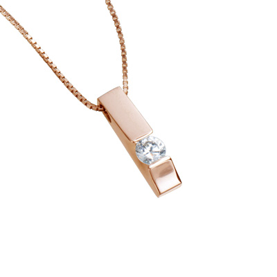 【ご遺骨から作るダイヤモンド0.25ct~(ダイヤ5色から選択)】ペンダントDP013ピンクゴールド 遺骨アクセサリー